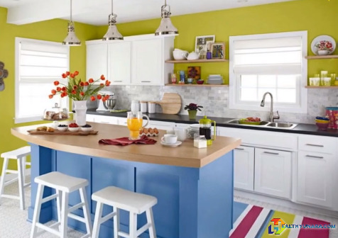 colorful minimalist kitchen design