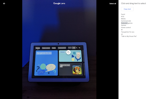 Copier du texte dans Google Photos via Lens débarque sur ordinateur