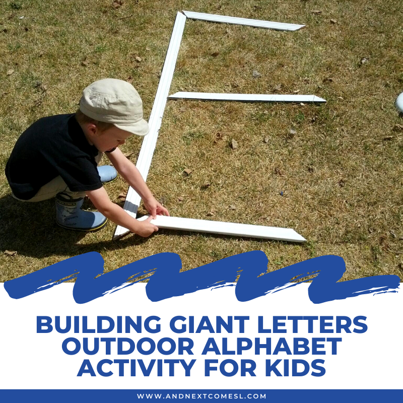 Building letters outdoor alphabet activity for kids