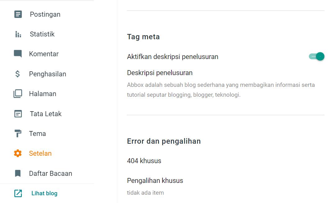 Cara Memasang Tag Meta Deskripsi di Blogger