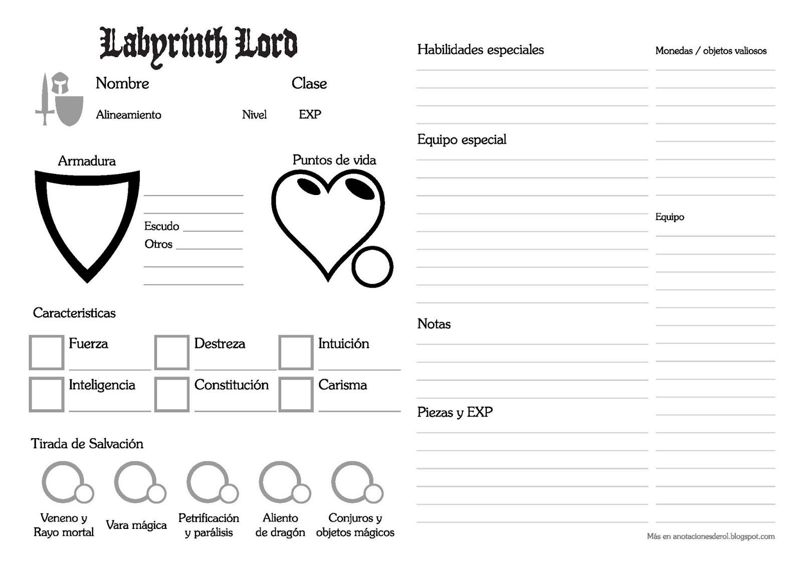 Labyrinth Lord Hoja de PJ en español. - Anotaciones de rol