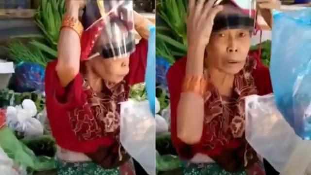 Pakai Face Shield Kebalik Lucu Ala Nenek Penjual Sayur