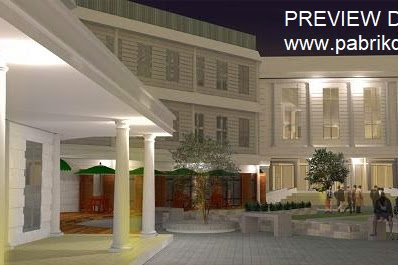 Preview desain gambar 3d hotel mewah dan nyaman suasana malam