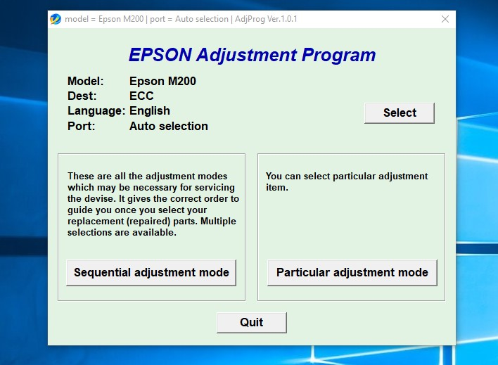 Epson Adjustment Program Resetter M200