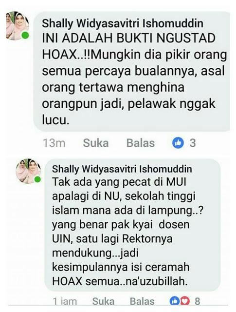 Shally Widyasavitri, Perempuan Berhijab Yang Blak-blakan Berani Bilang Abdul Somad Ustadz Hoax Lantaran....