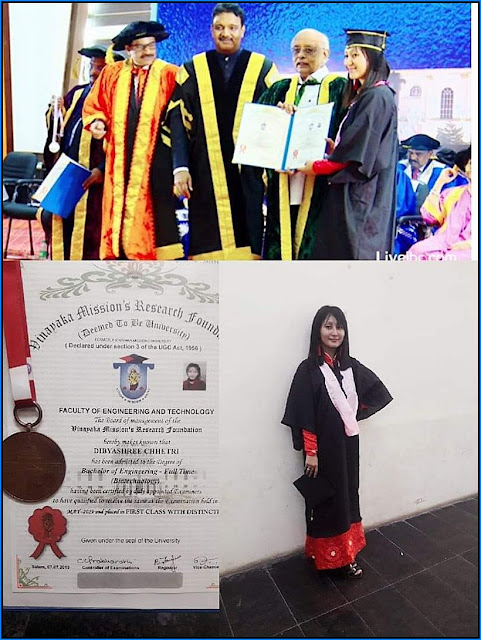 Dibyashree Chhetri awarded 1st Class with distinction in Biotechnology