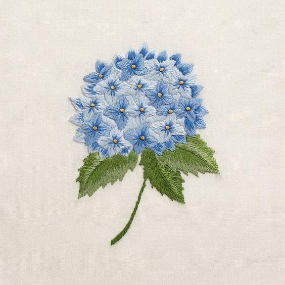 Mẫu thêu hoa cẩm tú cầu