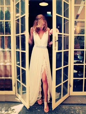 Beaded V-Neck Split-Front Lace Long Wedding Dress (11342022)