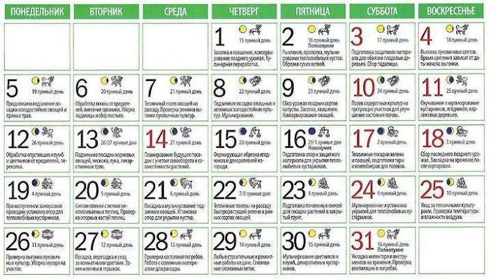 Подробный лунный календарь на октябрь 2020 года