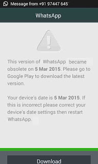 This version of WhatsApp become obsolete