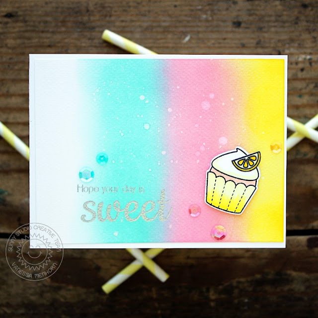 Sunny Studio Stamps: Sweet Shoppe Rainbow Lemon Cupcake Card by Vanessa Menhorn