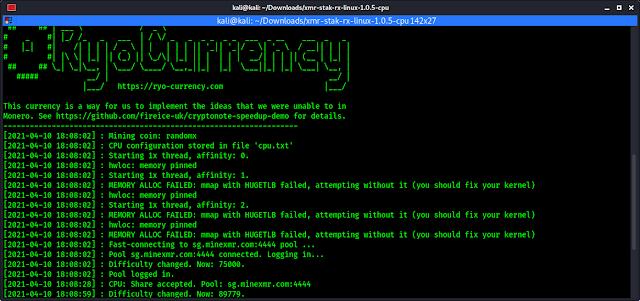 Monero XMR mining started form Kali Linux