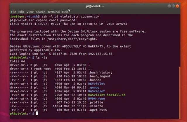 SSH USB RPI,  HASviolet, HVDN