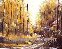 Chemin du chalet au coucher du soleil en automne, 1972, tableau par Clémence St-Laurent