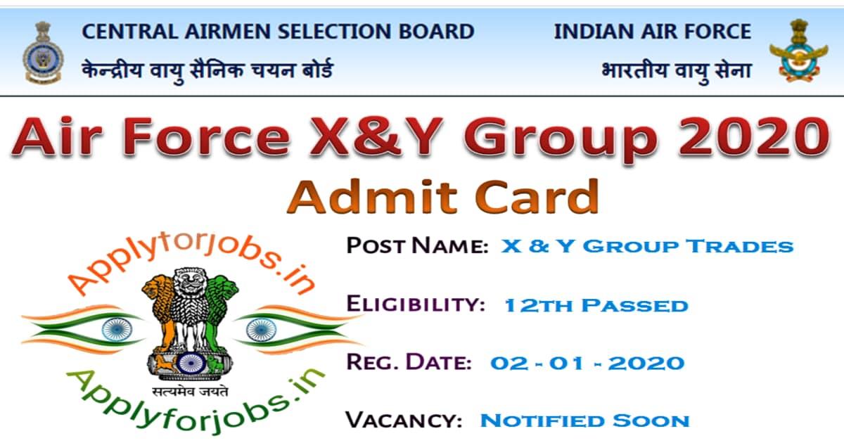 IAF Airmen Admit Card X, Y Group 2020, applyforjobs.in