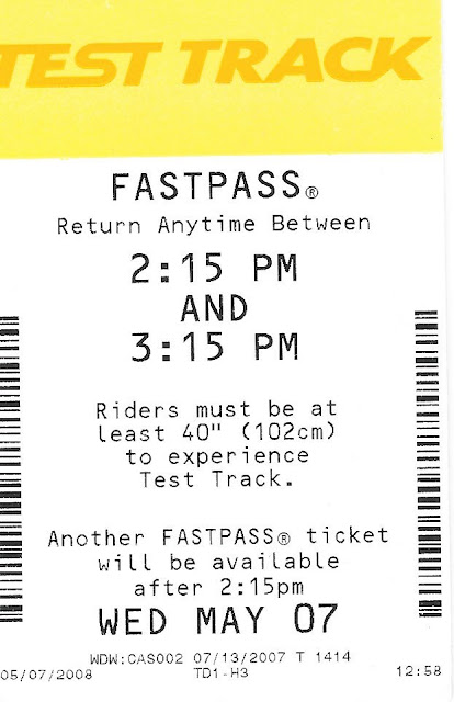 Test Track Fastpass May 7th 2007 Epcot Disney World