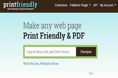 Printfriendly, Web to pdf, Webpage to pdf,  Save webpage,