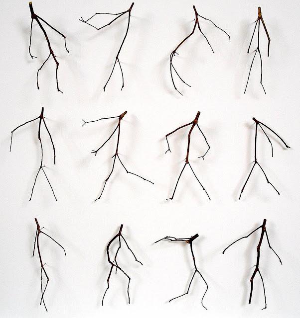 Chris Kenny art, bent twigs look like little human people