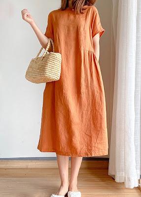 Оранжевое платье свободного кроя - отличный вариант на лето