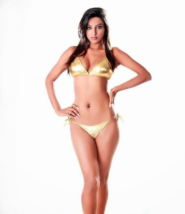 Sexy Actress And Model In Gold Color Bikini - Indian Bikini Model And Actress-2371