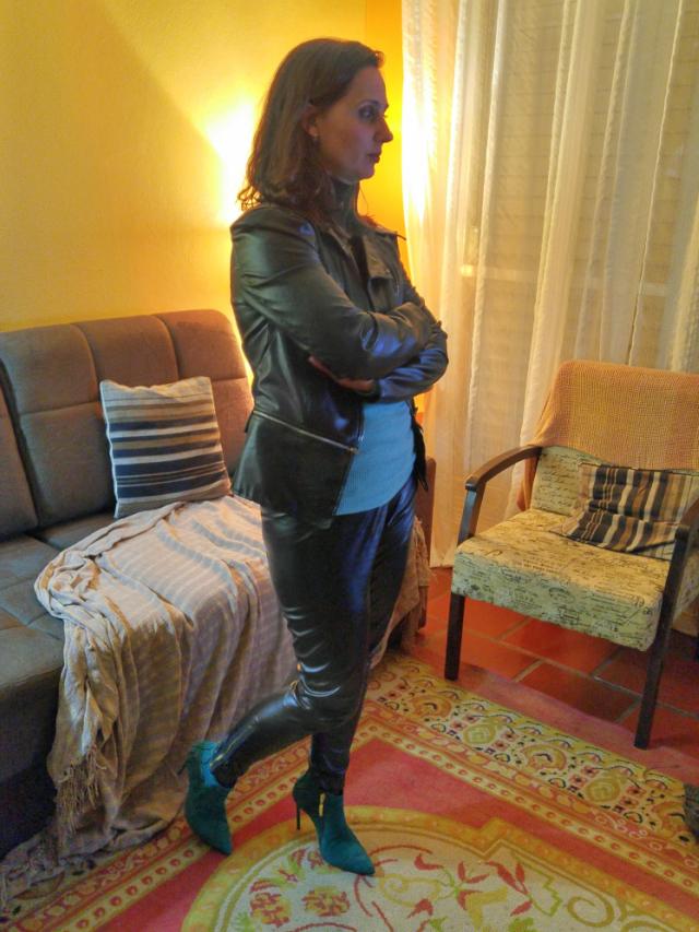 Calça de couro e jaqueta de couro
