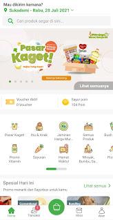Halaman utama Sayurbox yang berisi pilihan bahan kebutuhan segar sehari-hari