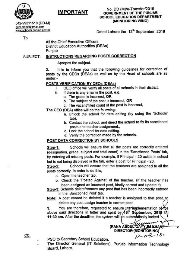 INSTRUCTIONS REGARDING POSTS CORRECTION ON SIS