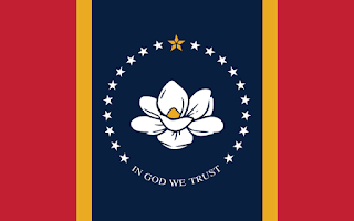 Official proposed new flag of the US state of Mississippi, formerly titled the New Magnolia Flag and now designated the In God We Trust Flag. Voters will choose whether to approve or reject it in a referendum on November 3, 2020.