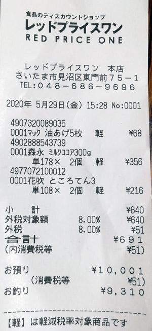 レッドプライスワン 2020/5/29 のレシート