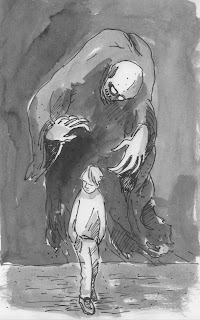 ghost wraith ghoul specter following a boy. Ink drawing by David Borden