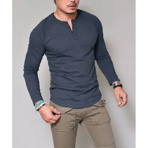 Blue Casual Long-sleeved T-shirt V-neck