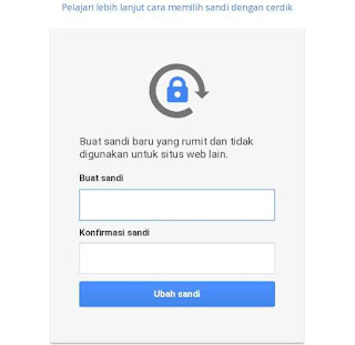 Masukan password gmail baru