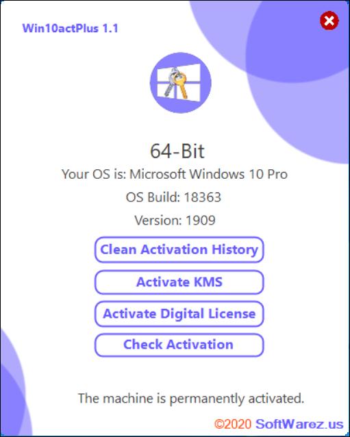 Screenshot Win10actPlus 1.1