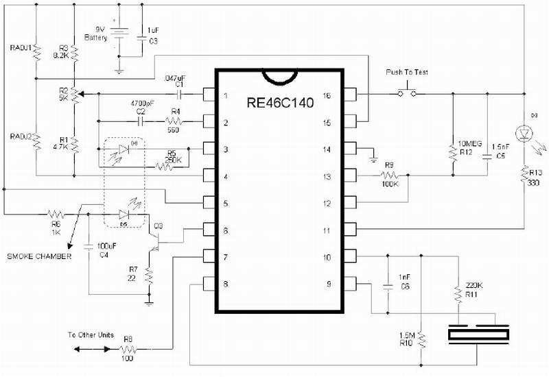 Schematic & Wiring Diagram: Smoke Detector using IC RE46C140