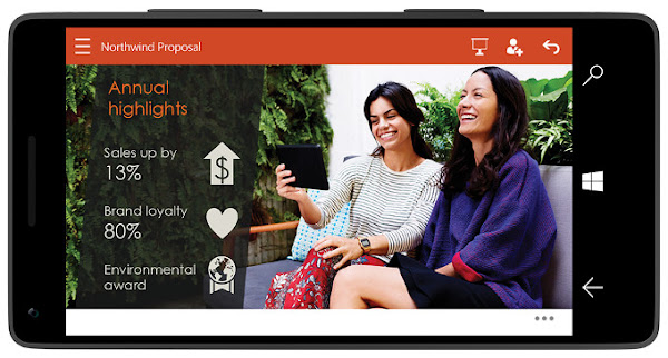 Powerpoint on Windows 10 for phones