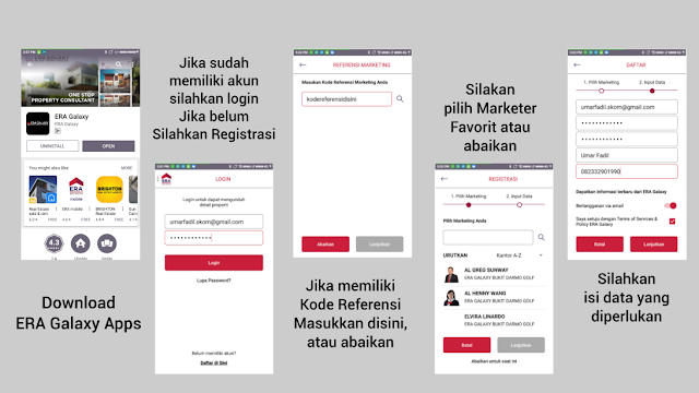 Tampilan Login dan Register ERA Galaxy Apps