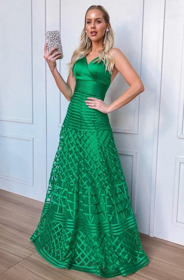 vestido de festa longo verde