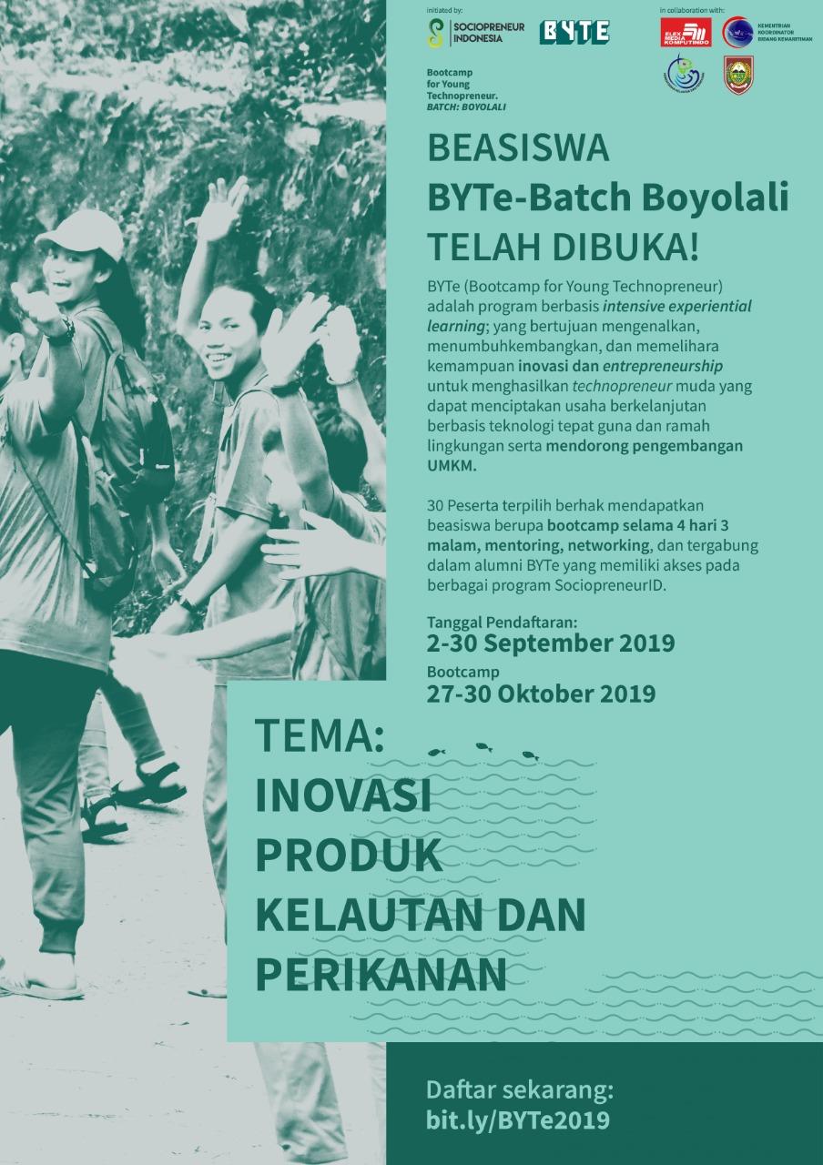 Program Beasiswa Bootcamp For Young Technopreneur BYTe 2019 Batch Boyolali