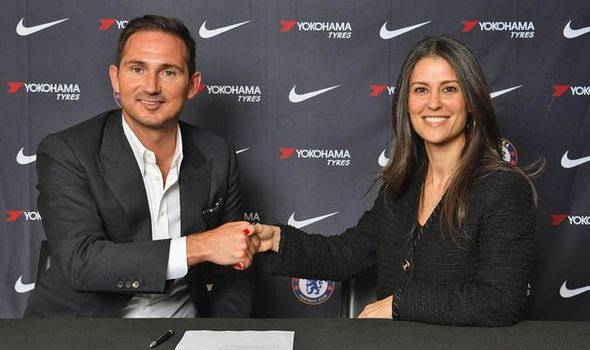 Frank Lampard and Marina Granovskaia shaking hands