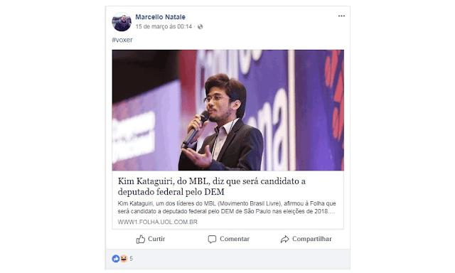 usou seu perfil no Facebook para celebrar a pré-candidatura de Kataguiri. Ele compartilhou um link que anunciava as pretensões eleitorais do líder do MBL com a hashtag #voxer.