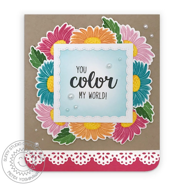 Sunny Studio Blog: You Color My World Rainbow Gerber Daisy Card (using Cheerful Days Stamps, Fancy Frames Square & Eyelet Lace Border Dies)