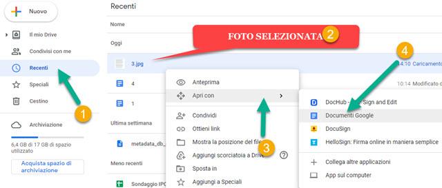 apertura di foto con Documenti Google