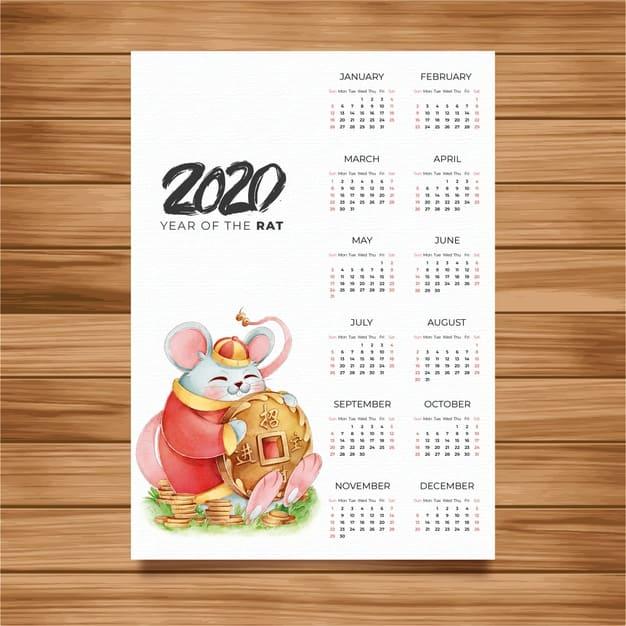 Plantilla de calendario del año nuevo chino 2020 gratis