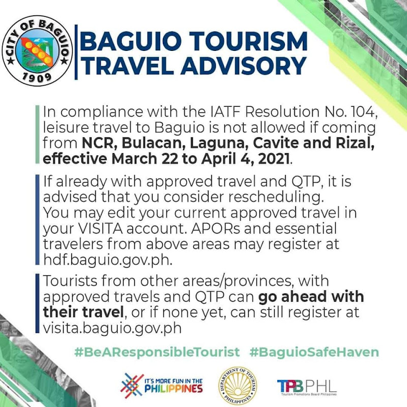Baguio Travel Advisory as of March 22, 2021