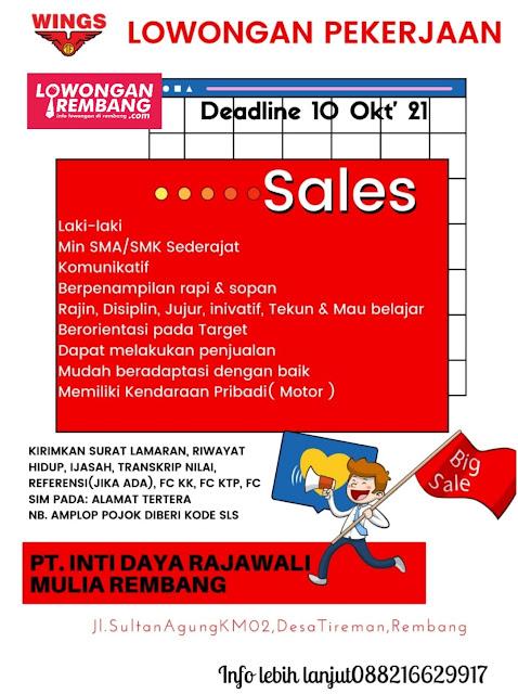 Lowongan Kerja Sales PT Inti Daya Rajawali Mulia Rembang