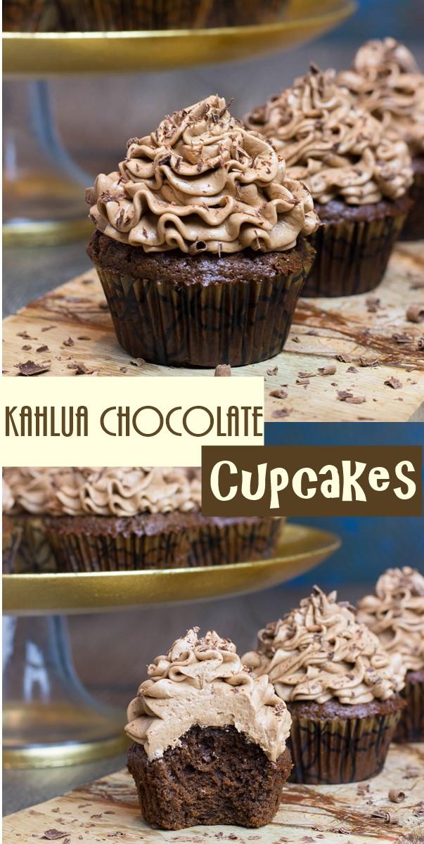 Kahlua Chocolate Cupcakes #cupcakerecipes