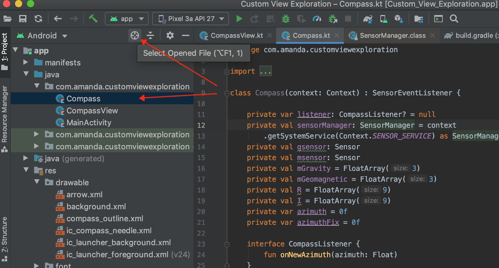 Android Studio interface with arrows pointing to target symbol
