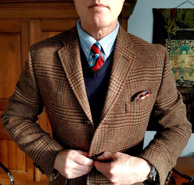 Ralph Lauren Glen Check Tweed jacket wearing view