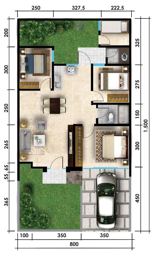 Denah rumah minimalis ukuran 8x15 meter 4 kamar tidur 1