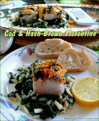 Cod and Hash Brown Florentine: flaky cod, hash brown shreds and spinach (chopped broccoli can be substituted) are baked together in one casserole. | Recipe developed by www.BakingInATornado.com | #recipe #dinner